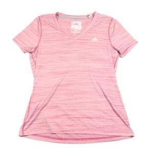 Adidas Womens pink heathered b neck t shirt medium